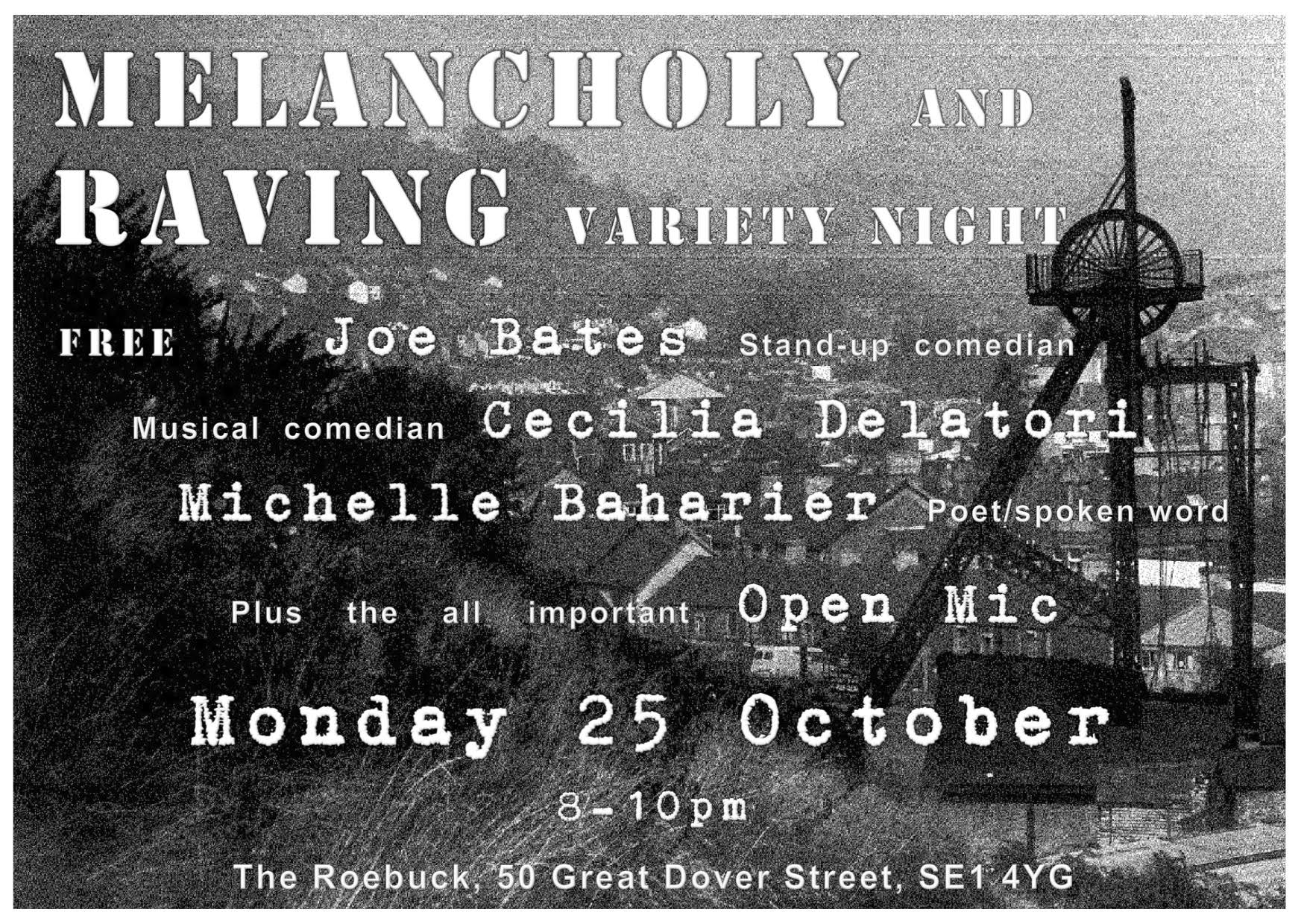 Free Open Mic Night Mon 25 Oct for World Mental Health Day